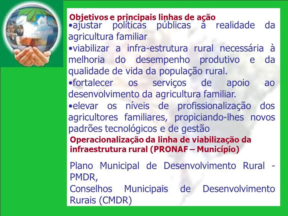 ajustar políticas públicas à realidade da agricultura familiar viabilizar a infra-estrutura rural necessária à melhoria do desempenho produtivo e da q