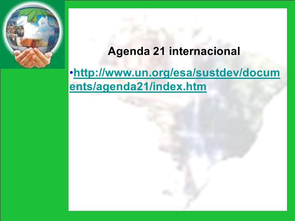 Agenda 21 internacional http://www.un.org/esa/sustdev/docum ents/agenda21/index.htmhttp://www.un.org/esa/sustdev/docum ents/agenda21/index.htm