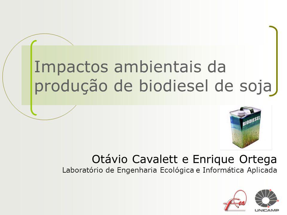 Impactos ambientais da produção de biodiesel de soja Otávio Cavalett e Enrique Ortega Laboratório de Engenharia Ecológica e Informática Aplicada