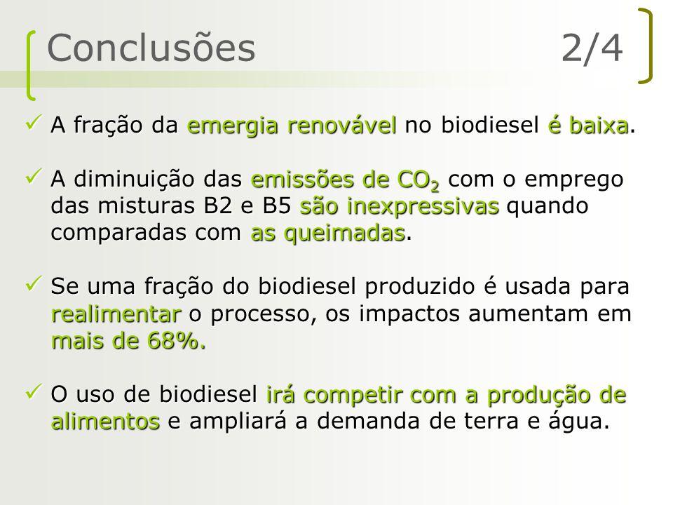 A fração da emergia renovável no biodiesel é baixa. A fração da emergia renovável no biodiesel é baixa. A diminuição das emissões de CO 2 com o empreg
