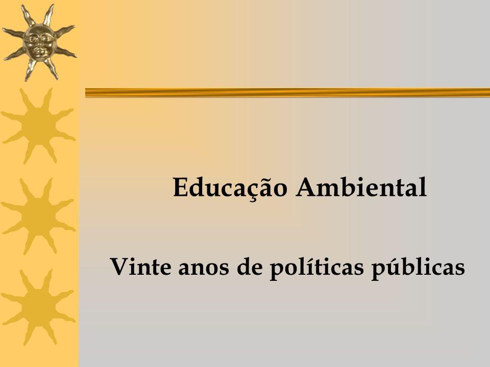 1972 Realização da Conferência Internacional das Nações Unidas sobre Meio Ambiente Institucionalizou-se o tema MEIO AMBIENTE Criação do Programa Internacional de Educação Ambiental Importância de um trabalho de educação em questões ambientais, sem distinção de idades