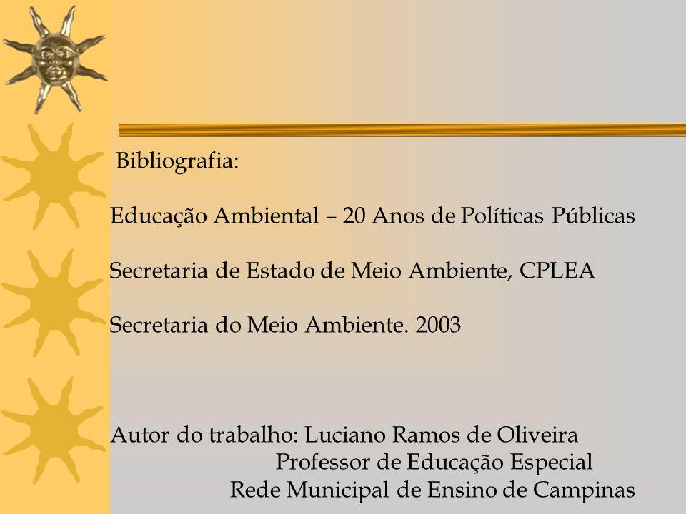 Bibliografia: Educação Ambiental – 20 Anos de Políticas Públicas Secretaria de Estado de Meio Ambiente, CPLEA Secretaria do Meio Ambiente. 2003 Autor