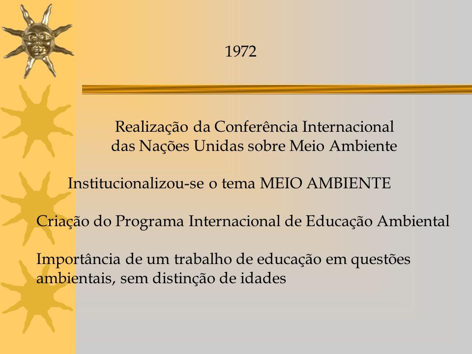 Anos de 1970 1970 - Meio Ambiente nova área de atuação dentro das políticas públicas 1973 - criação da Secretaria Especial de Meio Ambiente - Atividades de educação ambiental presentes na atuação dos seus órgãos - forma incipiente e esporádica como a própria política de meio ambiente.