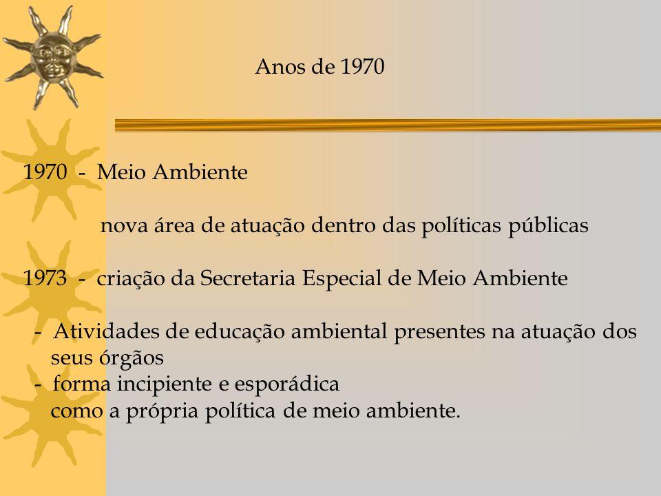 Anos de 1970 1970 - Meio Ambiente nova área de atuação dentro das políticas públicas 1973 - criação da Secretaria Especial de Meio Ambiente - Atividad