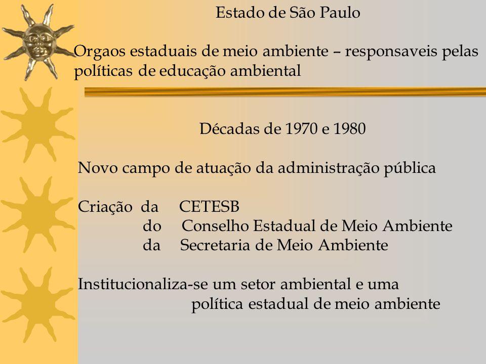Estado de São Paulo Orgaos estaduais de meio ambiente – responsaveis pelas políticas de educação ambiental Décadas de 1970 e 1980 Novo campo de atuação da administração pública Criação da CETESB do Conselho Estadual de Meio Ambiente da Secretaria de Meio Ambiente Institucionaliza-se um setor ambiental e uma política estadual de meio ambiente