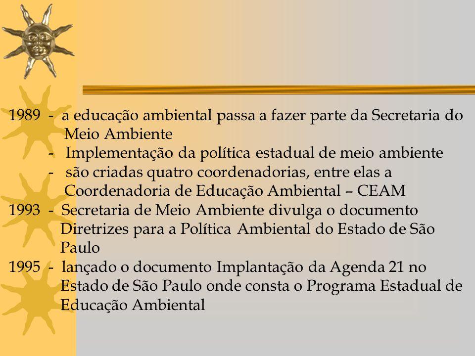 1989 - a educação ambiental passa a fazer parte da Secretaria do Meio Ambiente - Implementação da política estadual de meio ambiente - são criadas quatro coordenadorias, entre elas a Coordenadoria de Educação Ambiental – CEAM 1993 - Secretaria de Meio Ambiente divulga o documento Diretrizes para a Política Ambiental do Estado de São Paulo 1995 - lançado o documento Implantação da Agenda 21 no Estado de São Paulo onde consta o Programa Estadual de Educação Ambiental