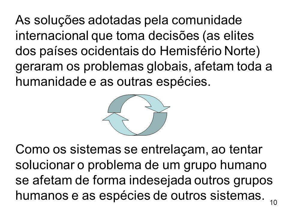 10 As soluções adotadas pela comunidade internacional que toma decisões (as elites dos países ocidentais do Hemisfério Norte) geraram os problemas glo