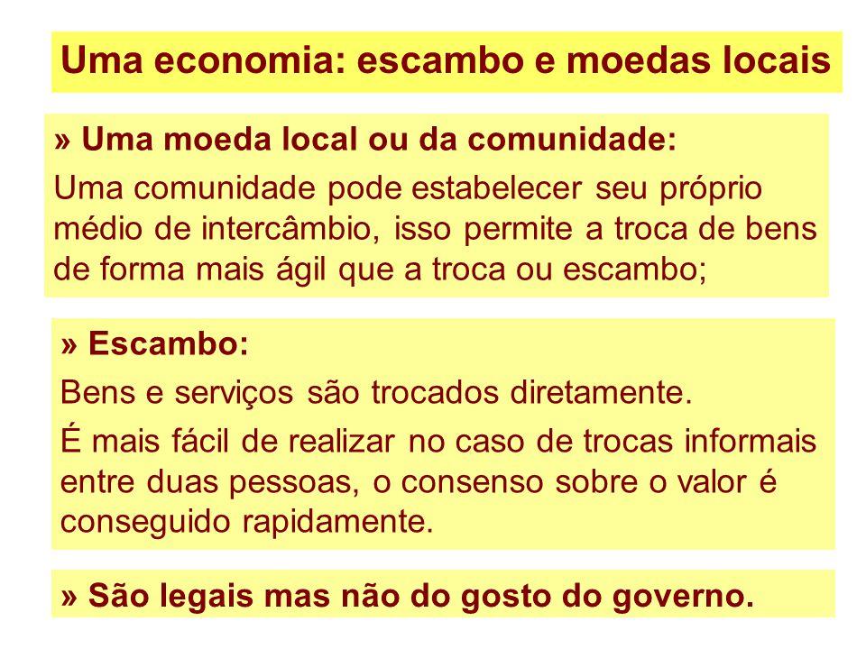 100 Uma economia: escambo e moedas locais » Uma moeda local ou da comunidade: Uma comunidade pode estabelecer seu próprio médio de intercâmbio, isso p