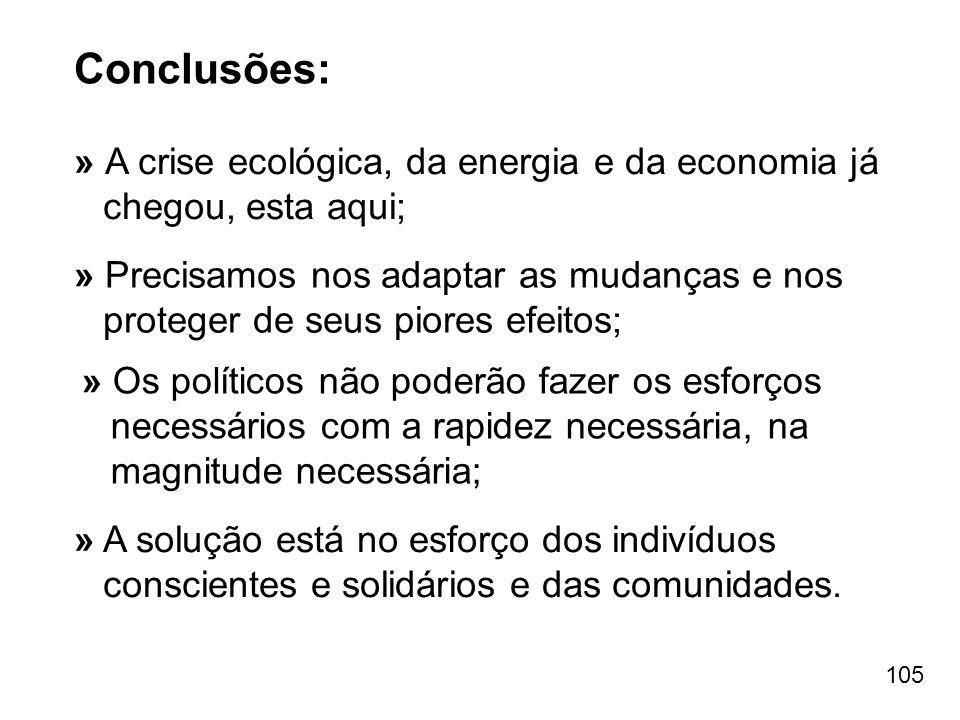 105 Conclusões: » A crise ecológica, da energia e da economia já chegou, esta aqui; » Os políticos não poderão fazer os esforços necessários com a rap