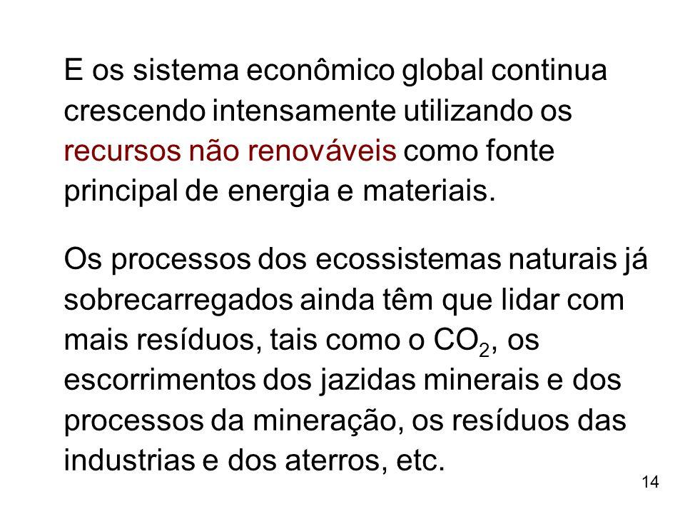 14 E os sistema econômico global continua crescendo intensamente utilizando os recursos não renováveis como fonte principal de energia e materiais. Os
