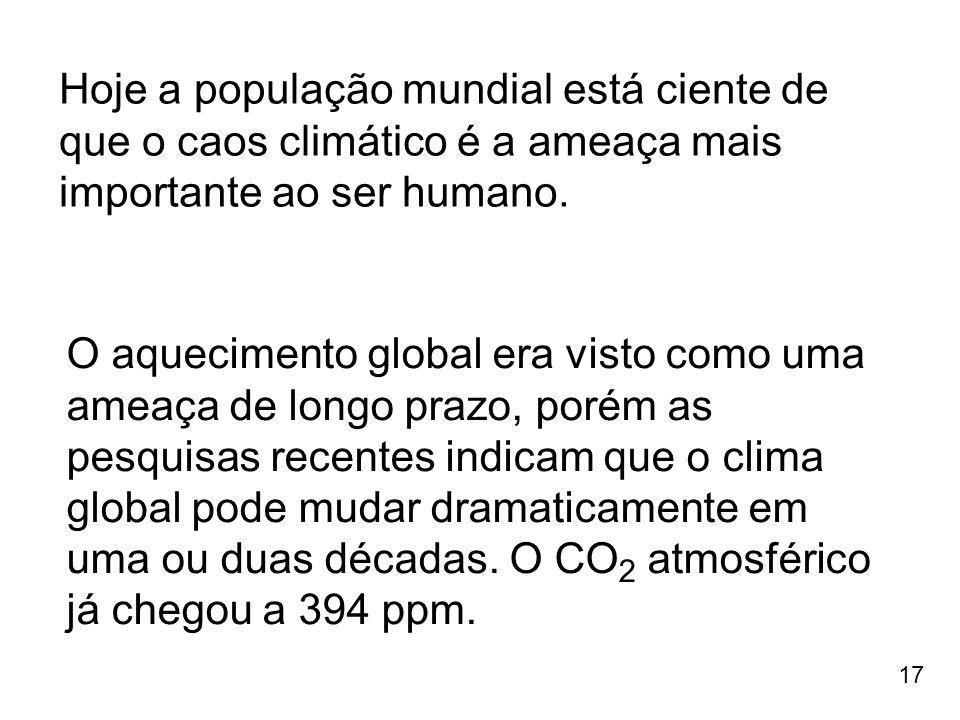 17 Hoje a população mundial está ciente de que o caos climático é a ameaça mais importante ao ser humano. O aquecimento global era visto como uma amea