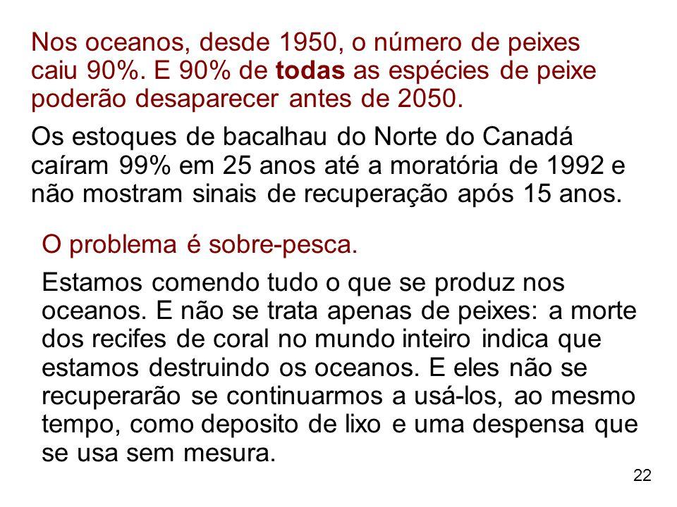 22 Nos oceanos, desde 1950, o número de peixes caiu 90%. E 90% de todas as espécies de peixe poderão desaparecer antes de 2050. Os estoques de bacalha