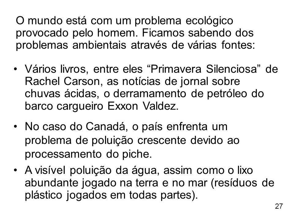 27 O mundo está com um problema ecológico provocado pelo homem. Ficamos sabendo dos problemas ambientais através de várias fontes: Vários livros, entr