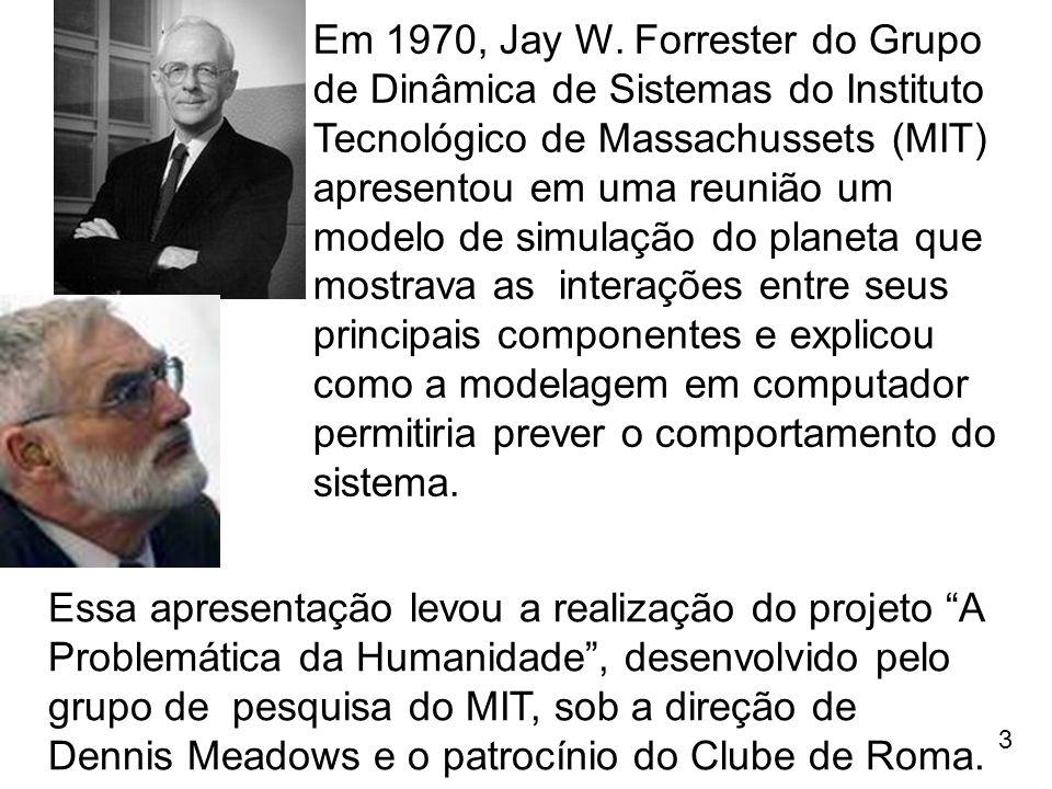3 Em 1970, Jay W. Forrester do Grupo de Dinâmica de Sistemas do Instituto Tecnológico de Massachussets (MIT) apresentou em uma reunião um modelo de si