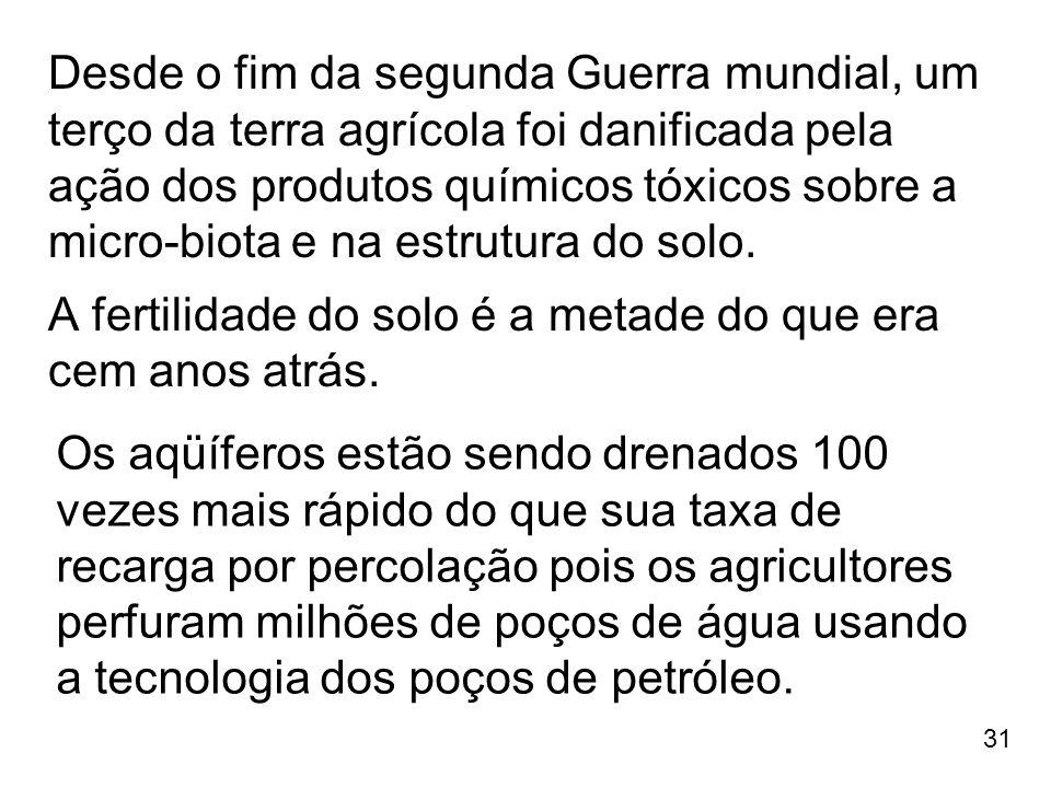 31 Desde o fim da segunda Guerra mundial, um terço da terra agrícola foi danificada pela ação dos produtos químicos tóxicos sobre a micro-biota e na e