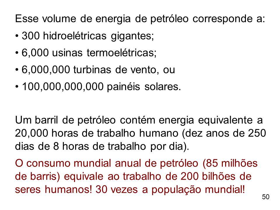 50 Esse volume de energia de petróleo corresponde a: 300 hidroelétricas gigantes; 6,000 usinas termoelétricas; 6,000,000 turbinas de vento, ou 100,000