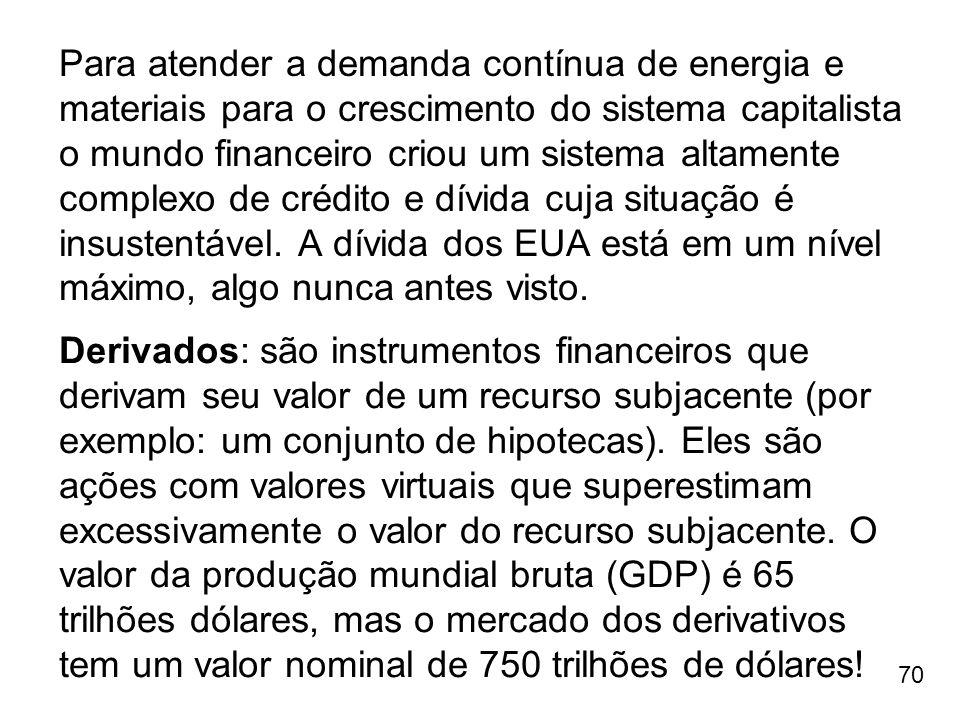 70 Para atender a demanda contínua de energia e materiais para o crescimento do sistema capitalista o mundo financeiro criou um sistema altamente comp