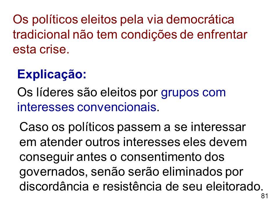 81 Os políticos eleitos pela via democrática tradicional não tem condições de enfrentar esta crise. Explicação: Os líderes são eleitos por grupos com
