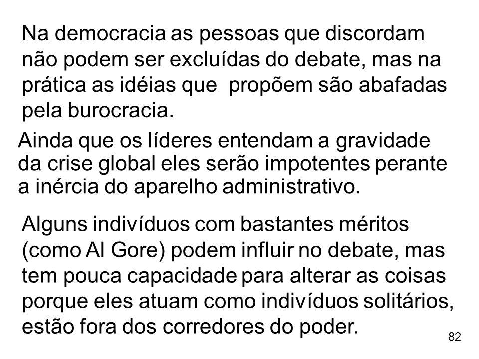 82 Na democracia as pessoas que discordam não podem ser excluídas do debate, mas na prática as idéias que propõem são abafadas pela burocracia. Alguns