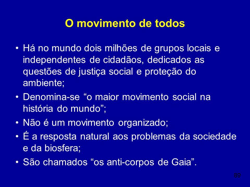 89 O movimento de todos Há no mundo dois milhões de grupos locais e independentes de cidadãos, dedicados as questões de justiça social e proteção do a