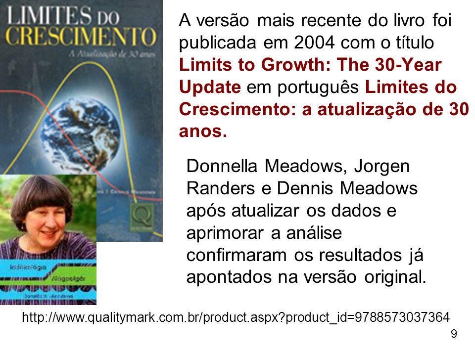 9 A versão mais recente do livro foi publicada em 2004 com o título Limits to Growth: The 30-Year Update em português Limites do Crescimento: a atuali