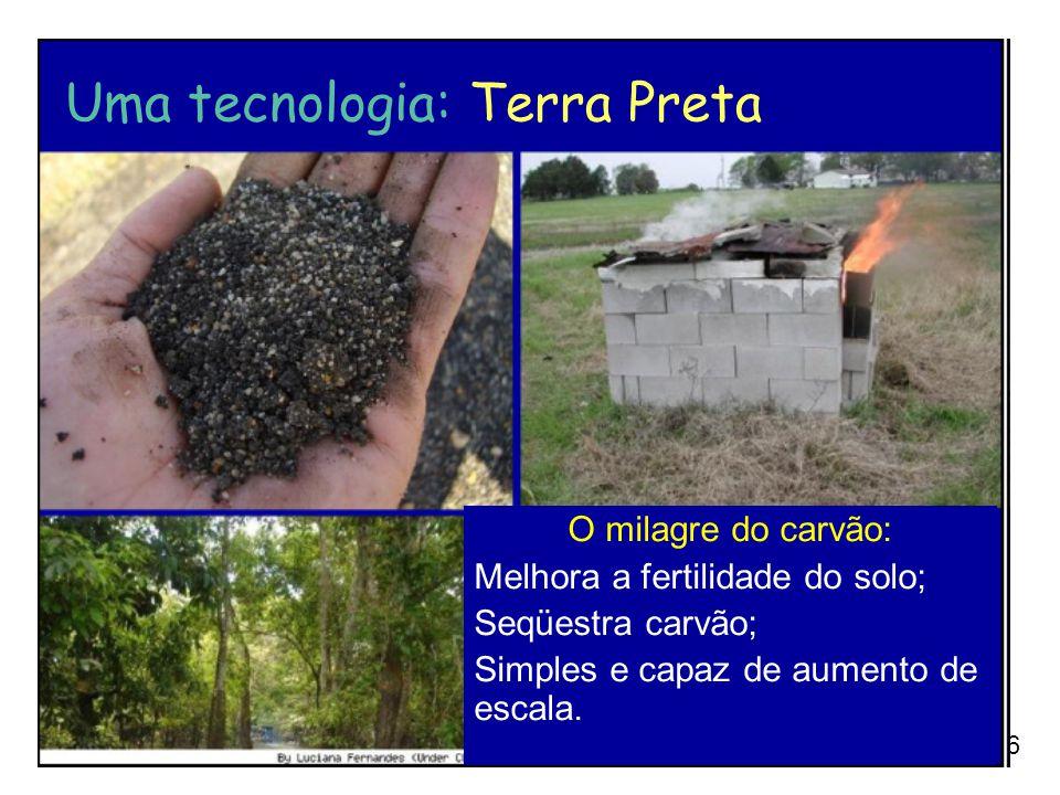 96 O milagre do carvão: Melhora a fertilidade do solo; Seqüestra carvão; Simples e capaz de aumento de escala. Uma tecnologia: Terra Preta