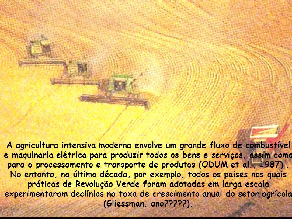 A agricultura intensiva moderna envolve um grande fluxo de combustível e maquinaria elétrica para produzir todos os bens e serviços, assim como para o