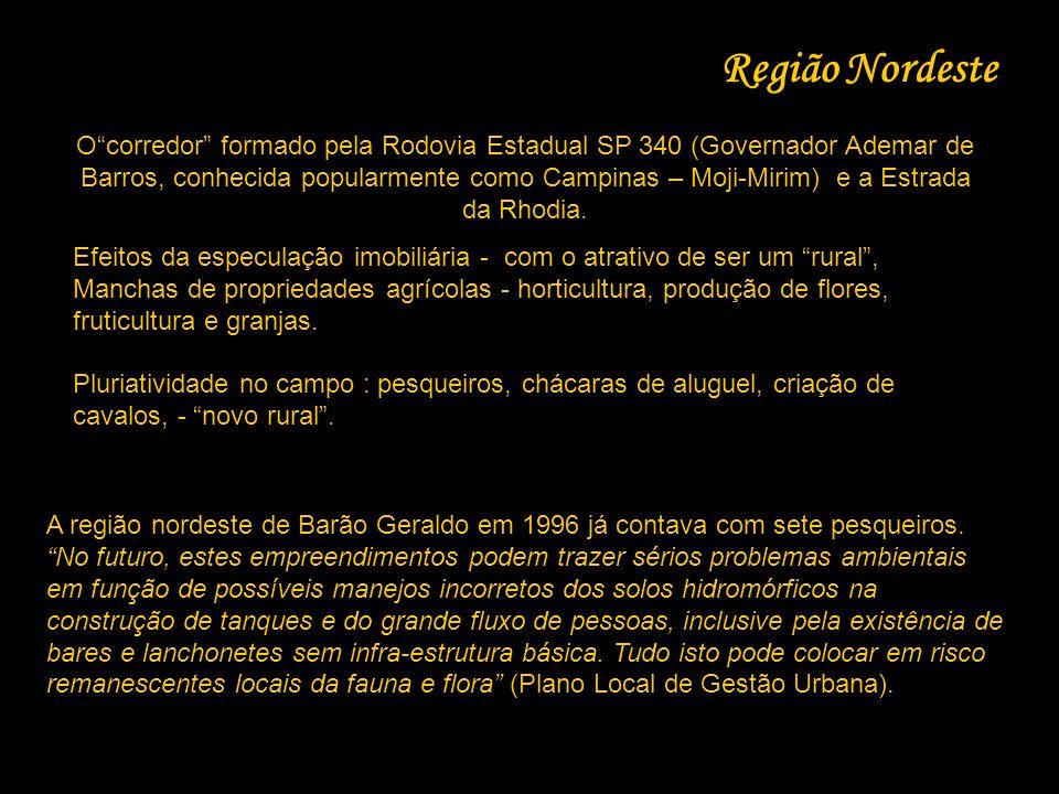 """Região Nordeste O""""corredor"""" formado pela Rodovia Estadual SP 340 (Governador Ademar de Barros, conhecida popularmente como Campinas – Moji-Mirim) e a"""