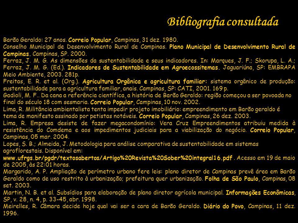 Bibliografia consultada Barão Geraldo: 27 anos. Correio Popular, Campinas, 31 dez. 1980. Conselho Municipal de Desenvolvimento Rural de Campinas. Plan