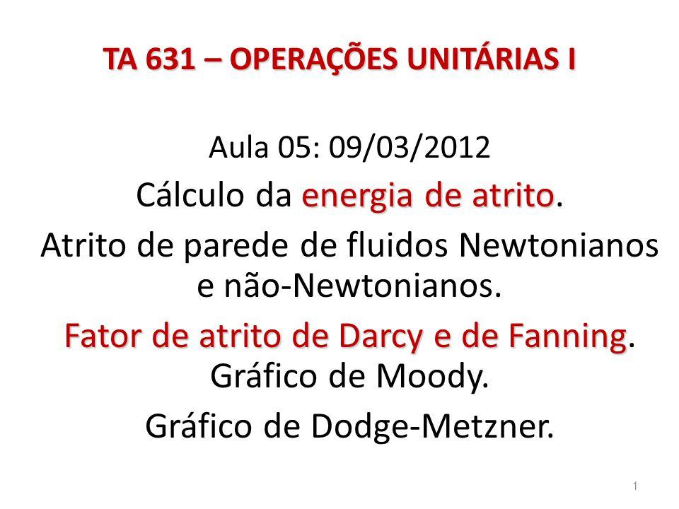 Aula 05: 09/03/2012 energia de atrito Cálculo da energia de atrito.