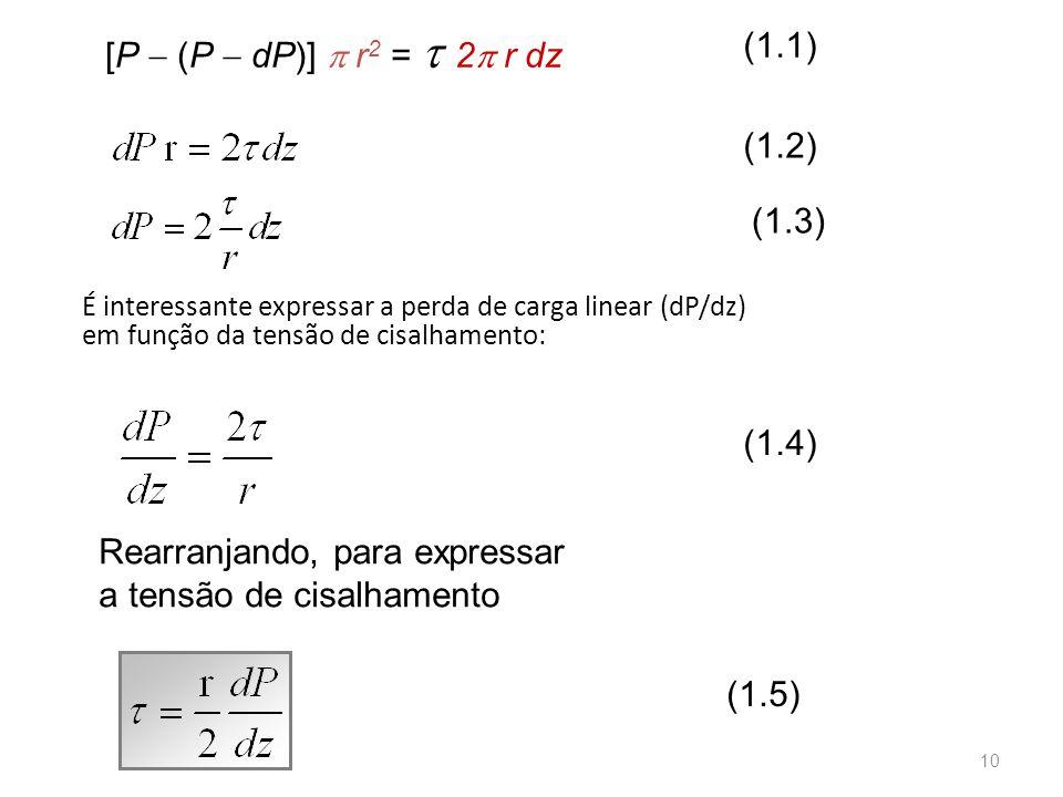 É interessante expressar a perda de carga linear (dP/dz) em função da tensão de cisalhamento: Rearranjando, para expressar a tensão de cisalhamento (1.4) (1.2) (1.3) (1.5) [P  (P  dP)]  r 2 =  2  r dz (1.1) 10