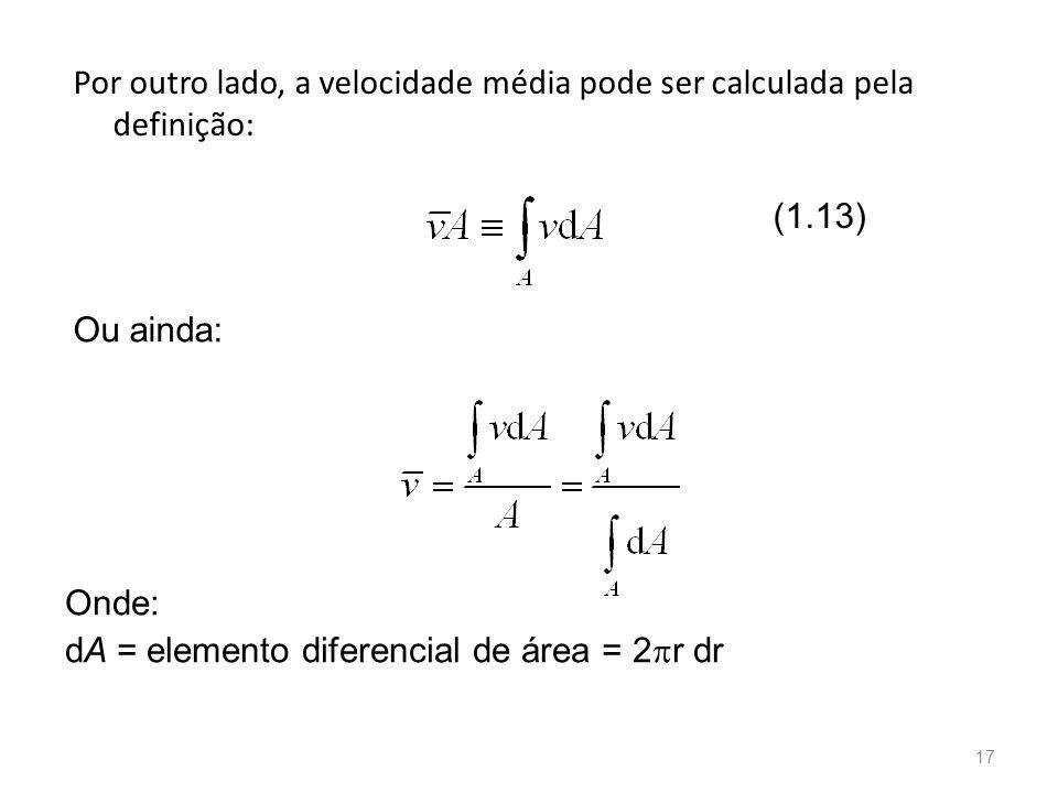 Por outro lado, a velocidade média pode ser calculada pela definição: Ou ainda: Onde: dA = elemento diferencial de área = 2  r dr (1.13) 17