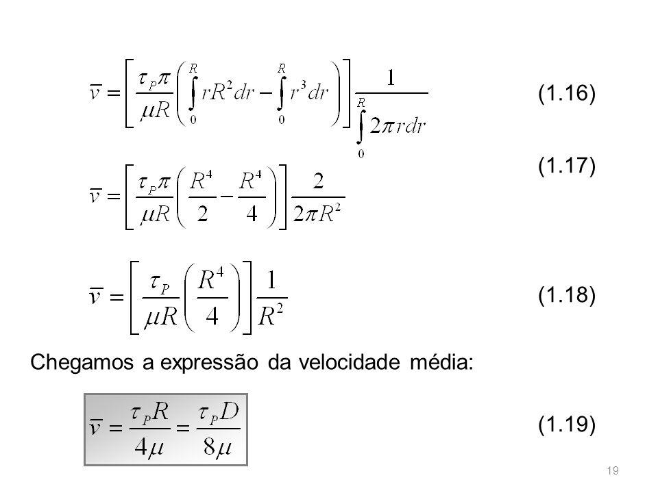 (1.16) (1.18) (1.17) (1.19) Chegamos a expressão da velocidade média: 19