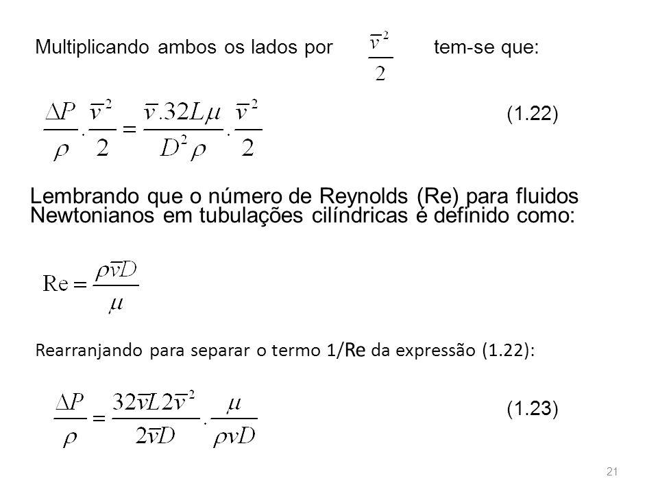 Multiplicando ambos os lados por Lembrando que o número de Reynolds (Re) para fluidos Newtonianos em tubulações cilíndricas é definido como: (1.22) Rearranjando para separar o termo 1/ Re da expressão (1.22): (1.23) tem-se que: 21