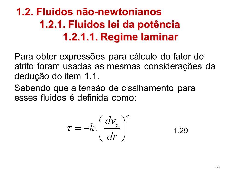 1.2.1.Fluidos lei da potência 1.2.1.1. Regime laminar 1.2.