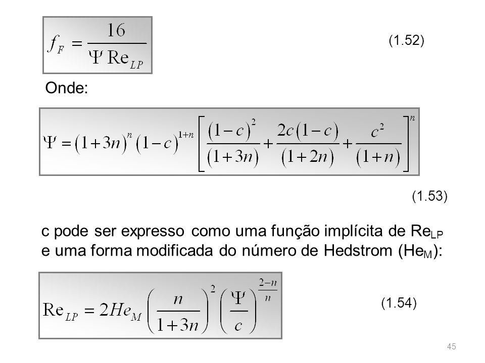 (1.52) Onde: (1.53) c pode ser expresso como uma função implícita de Re LP e uma forma modificada do número de Hedstrom (He M ): (1.54) 45
