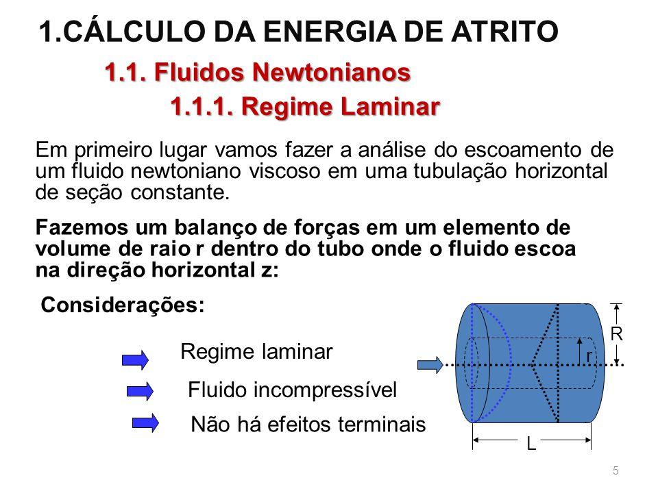 1.CÁLCULO DA ENERGIA DE ATRITO 1.1.Fluidos Newtonianos 1.1.1.
