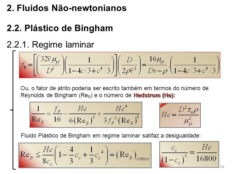 64 2.Fluidos Não-newtonianos 2.2. Plástico de Bingham 2.2.1.
