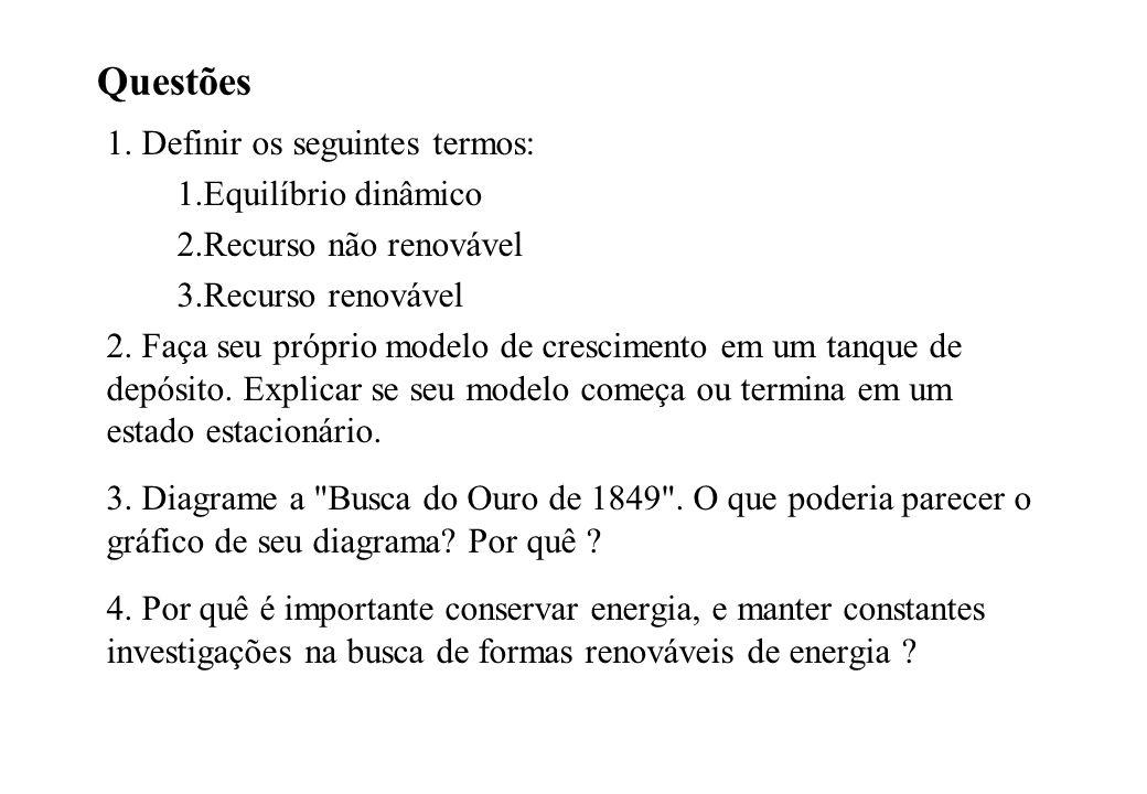 Questões 1. Definir os seguintes termos: 1.Equilíbrio dinâmico 2.Recurso não renovável 3.Recurso renovável 2. Faça seu próprio modelo de crescimento e