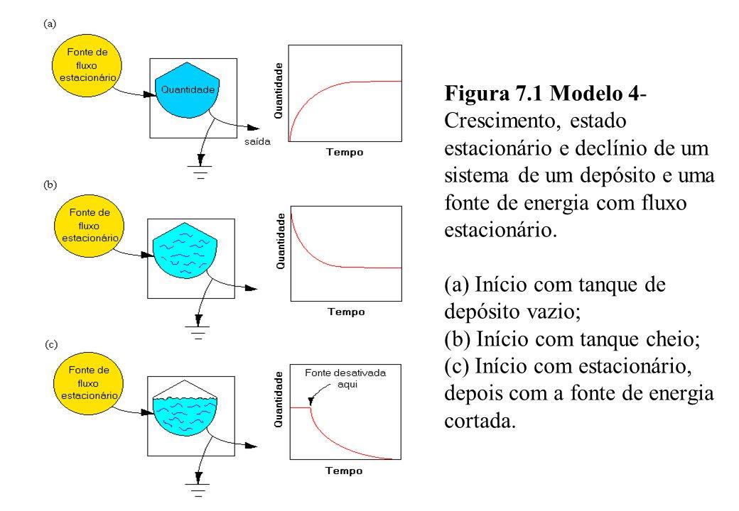 Figura 7.1 Modelo 4- Crescimento, estado estacionário e declínio de um sistema de um depósito e uma fonte de energia com fluxo estacionário. (a) Iníci