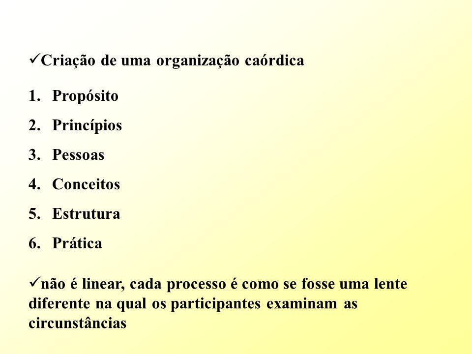 Criação de uma organização caórdica 1.Propósito 2.Princípios 3.Pessoas 4.Conceitos 5.Estrutura 6.Prática não é linear, cada processo é como se fosse uma lente diferente na qual os participantes examinam as circunstâncias