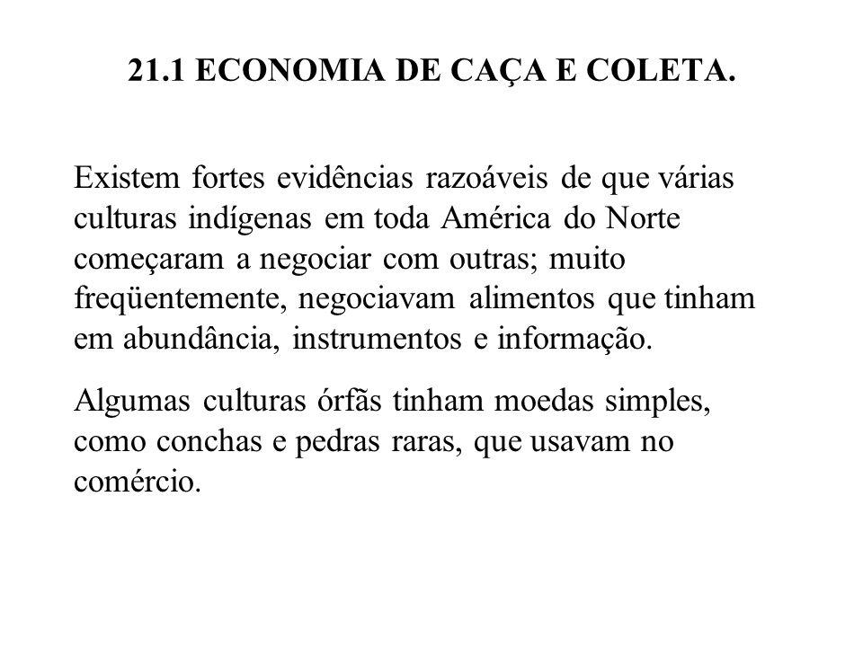 21.1 ECONOMIA DE CAÇA E COLETA. Existem fortes evidências razoáveis de que várias culturas indígenas em toda América do Norte começaram a negociar com