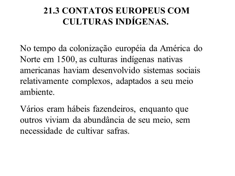21.3 CONTATOS EUROPEUS COM CULTURAS INDÍGENAS. No tempo da colonização européia da América do Norte em 1500, as culturas indígenas nativas americanas