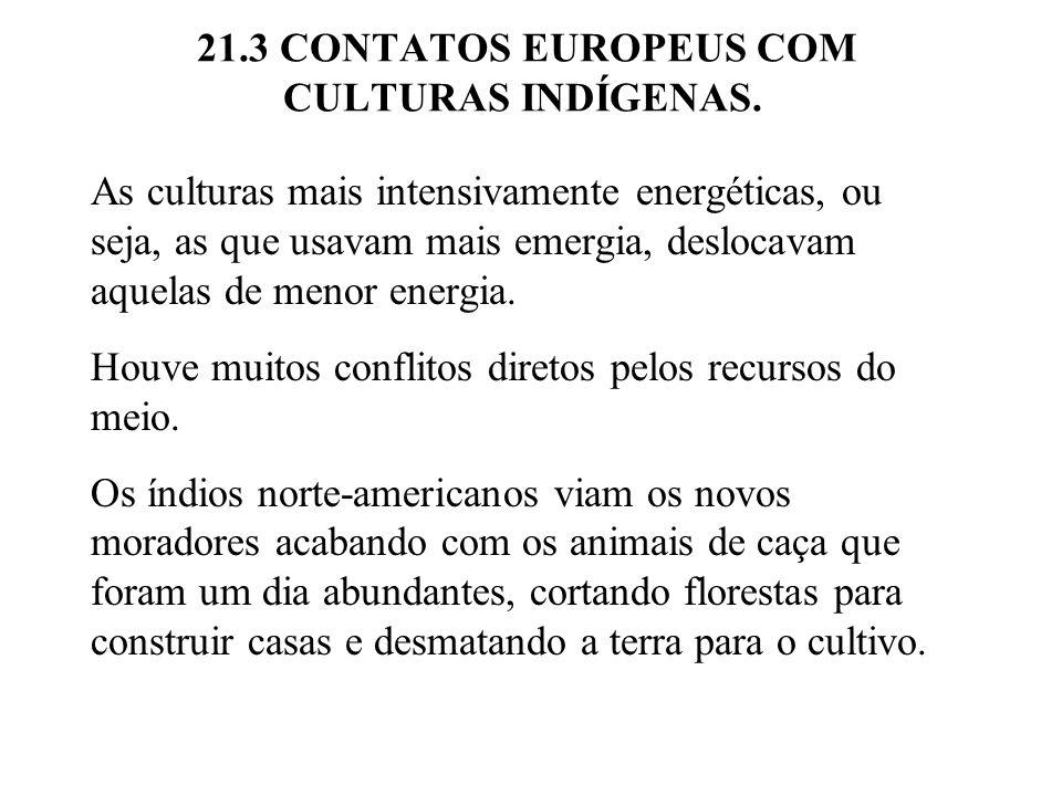 21.3 CONTATOS EUROPEUS COM CULTURAS INDÍGENAS. As culturas mais intensivamente energéticas, ou seja, as que usavam mais emergia, deslocavam aquelas de