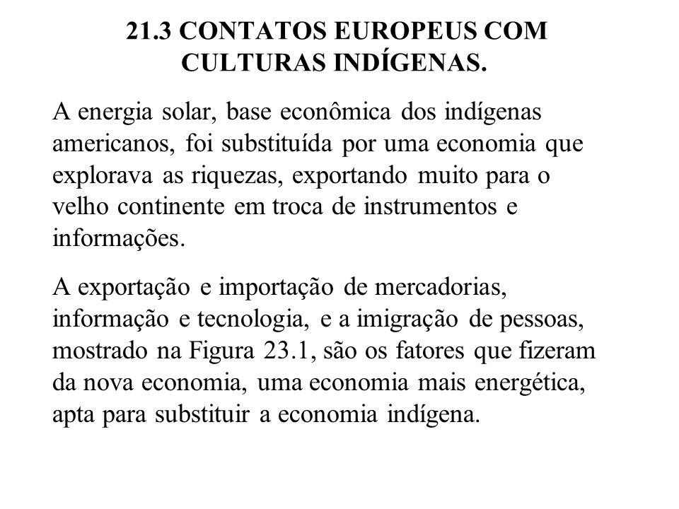 21.3 CONTATOS EUROPEUS COM CULTURAS INDÍGENAS. A energia solar, base econômica dos indígenas americanos, foi substituída por uma economia que explorav