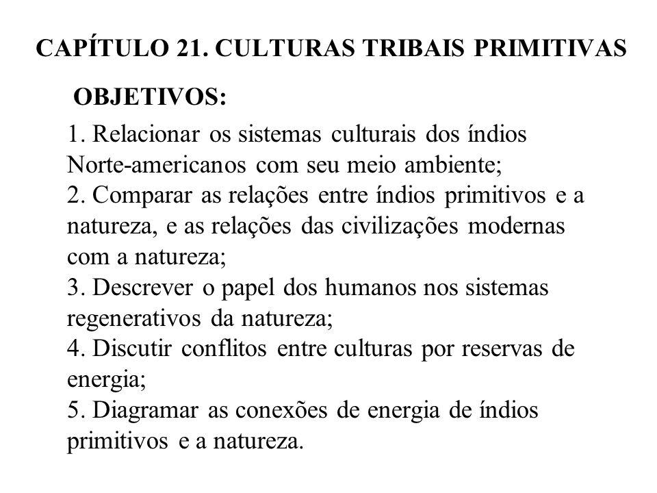 CAPÍTULO 21. CULTURAS TRIBAIS PRIMITIVAS OBJETIVOS: 1. Relacionar os sistemas culturais dos índios Norte-americanos com seu meio ambiente; 2. Comparar
