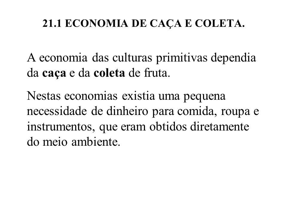 21.1 ECONOMIA DE CAÇA E COLETA. A economia das culturas primitivas dependia da caça e da coleta de fruta. Nestas economias existia uma pequena necessi
