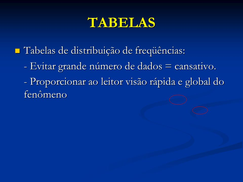 TABELAS Tabelas de distribuição de freqüências: Tabelas de distribuição de freqüências: - Evitar grande número de dados = cansativo.