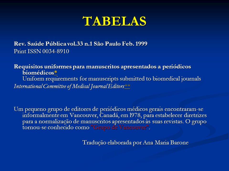 TABELAS Rev. Saúde Pública vol.33 n.1 São Paulo Feb. 1999 Print ISSN 0034-8910 Requisitos uniformes para manuscritos apresentados a periódicos biomédi