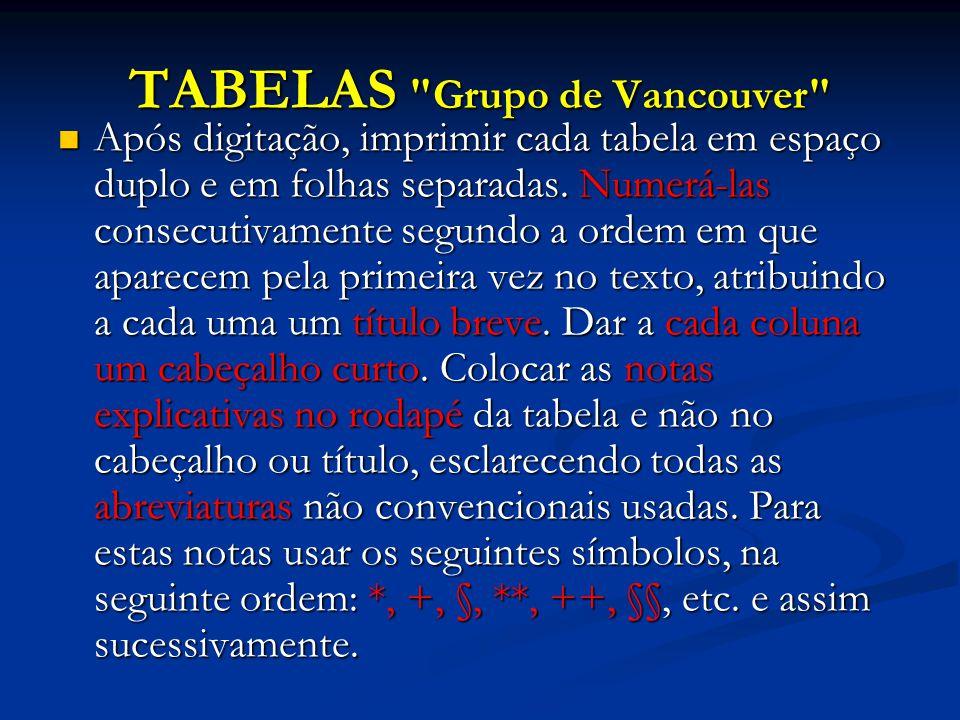 TABELAS Grupo de Vancouver Após digitação, imprimir cada tabela em espaço duplo e em folhas separadas.